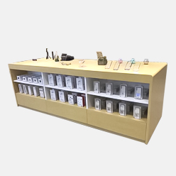 retail display counter with under table accessory storage cabinet