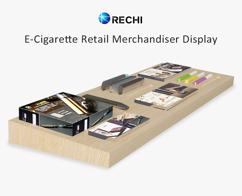 rechi countertop wood electric cigarette pop display tray