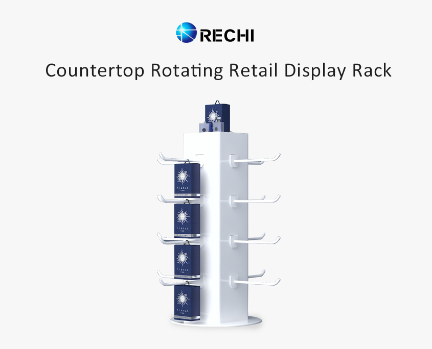 rechi retail countertop rotating display stand with hooks
